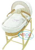 Full Set Natural Palm Moses Basket With Mattress, Cover and Rocking Stand