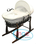 Full Set Brown Wicker Moses Basket With Mattress, Cover and Walnut Rocking Stand by MCC