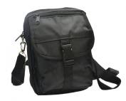 Mens / Ladies Black Canvas Travel Bag with Belt Loop / Molle Attachments / Detachable Strap