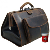 BARON of MALTZAHN doctor's bag with front pocket TRISTAN buffalo leather incl. Leather Care