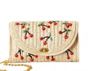 Tonwhar Cherry / Banana Embroidery Straw Woven Messenger Bag Beach Bag