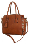 ICE (2512-2) Faux Leather Shopper Bag With Gold Eyelets Brown Tan