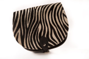 Zebra Print in Cowhide Fur Classic Genuine 100% Leather Saddle Handbag (Cross-body) Available in many colours
