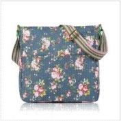 Blue Shabby Chic Floral Canvas Ladies Messenger Fashion Bag Handbag
