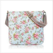 Light Blue Shabby Chic Floral Canvas Ladies Messenger Fashion Bag Handbag