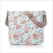 Light Blue Shabby Chic Floral Canvas Ladies Messenger Fashion Bag Handbag