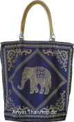 Big, tote handbag with Thai elephants, blau