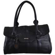 Ladies Leather Shoulder Bag / Handbag with Folder Over Flap and Magentic Clasp.