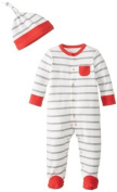 Offspring - Baby Apparel Baby-Boys Newborn Grey-Red Stripe Footie with Hat, Grey/Multi, 6 Months Colour