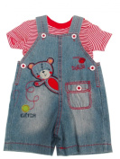 BNWT baby boys cute all in one denim teddy dungaree & T-shirt