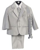 Boy's 2-Button Metallic Suit with Vest and 2 Ties - Silver 4 Colour