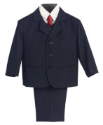 5 Piece Navy Blue Suit with Shirt, Vest, and Tie - Size L (12 Month) Size