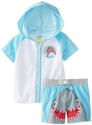 Baby Buns Baby-Boys Newborn Cover Up and Swimtrunk Happy Shark, Blue, 3/6 Months Colour