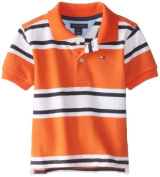 Tommy Hilfiger Baby-Boys Infant Short Sleeve Andrew Stripe Polo, Naval Orange, 12 Months Colour