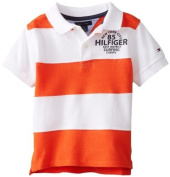 Tommy Hilfiger Baby-Boys Infant Short Sleeve Kent Pieced Polo, Naval Orange, 18 Months Colour
