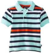 Nautica Baby-Boys Infant Short Sleeve Alternate Stripe Polo, Polar Ice, 24 Months Colour