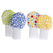 No Scratch Baby Mittens Set of 2 - Green, Blue, and Multicolor Dots 0-6m