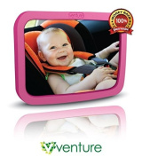 Venture Large Wide Angle Back Seat Mirror Pink + 360° Swivel & Tilt Function