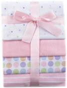 Luvable Friends 4-Pack Flannel Receiving Blankets, Pink