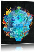 Lion fire black canvas picture painting on canvas, huge XXL Pictures completely framed with stretcher, art print on wall picture with frame, cheaper than painting or an oil painting, not a poster or billboard, size