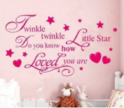 Newsee Decals TWINKLE TWINKLE LITTLE STAR QUOTE WALL STICKER Decal KID BEDROOM DIY Removable Hot Pink