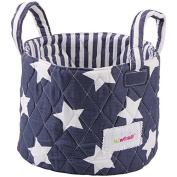 Minene Small Blue & White Stars Fabric Storage Basket Organiser with Handles 18x22cm