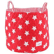 Minene Large Storage Basket with Red Stars - star storage baskets, round storage baskets, large fabric storage basket - great for toy storage, kids storage and as a laundry hamper
