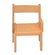 Childrens Furniture Solid Beech Wood One Children's Chair with Arm Rest Natural Varnish