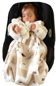 POP-ON Sleeved Blanket in Soft Cuddle Fleece 0-3 years for Buggies and Car Seats BEIGE TEDS