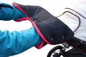 ByBUM - Handmuff with Fleece inside, for Stroller, Pram, Jogger, Colour:Black/Fuchsia