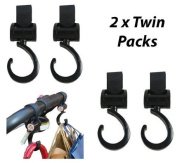 2 x Twin Pack (4 Clips) Happy Mummy Hook and Stroll Buggy/Stroller Clips - Black