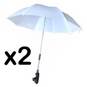 WHITE/BLUE STROLLER BUGGY PRAM PARASOL UMBRELLA - IT FITS TO MOST PRAMS - VERY SIMPLE TO ATTACH WITH SCREW TYPE FITTING TO FRAME - UMBRELLA CAN BE SIMPLY ADJUSTED INTO POSITION - PERFECT FOR BABIES AND INFANTS TO KEEP THE DRY AND PROTECTED (PACK OF 2, ..