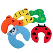 5 Baby safety Door Jammer Guard Finger Protector Stoppers - Fits doors thick 20mm to 35mm red ladybird, green butterfly, blue seal, yellow tiger, and orange bear