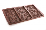 3-Bar Wood Grain Silicone Chocolate Bar Mould Pan Tin