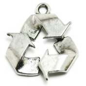 4 Recycle Symbol Charms silver tone