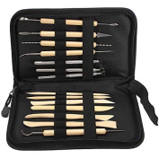 High Quality 14pcs Wooden Metal Pottery Clay Moulding Sculpture Sculpting Tools Kit with Case