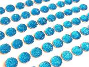 CB69T- 60 Self Adhesive Turquoise Diamante Rhinestone Bubble Stick on Gems
