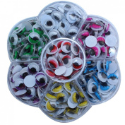DECORA 260 Pieces 10mm Mixed Colours Wiggly Googly Eyes With Eyelash DIY Scrapbooking Crafts Toy Accessories