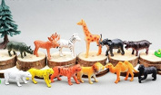 Toy animals, set of 12pcs, assorted types & colours