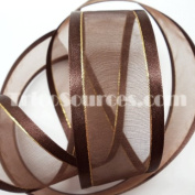 """Organza Ribbon With Side Gold Line 1.5"""" (38mm) X 25 Yards - B4025"""