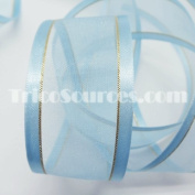 "Organza Ribbon With Side Gold Line 1.5"" (38mm) X 25 Yards - B4025"