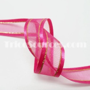 Organza Ribbon With Side Gold Line 1.6cm X 25 Yards - B4023