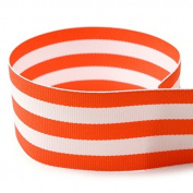 1cm Orange & White Taffy Striped Grosgrain Ribbon - 100 Yards - USA Made -