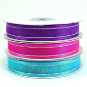 Organza Satin Edge Silver Stripe Ribbons 1.6cm (Spool of 25 Yards)