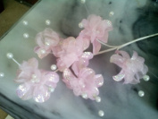 Flower Spray, Irides. Light Pink, 6 Flowers Per Stem, 6 Stems Per Purchase. 20cm Tall