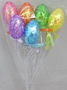 Decorated Foam Easter Egg Shaped Easter Basket Flower Picks, Set of 6