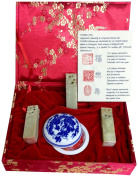 Yuemei Three Jade Stamps Gift Set with Happiness, Blessing and Longevity Chinese Calligraphy, Small