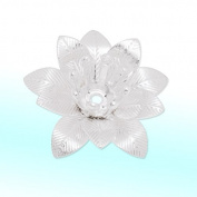 15mm Silver Plated Metal Flower Stampings Charms Bead Cups-20pcs