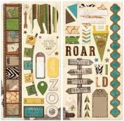 BoBunny Safari Noteworthy Chipboard Scrapbook Embellishments