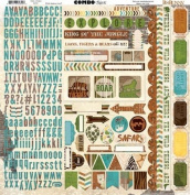 BoBunny Safari Combo Scrapbook Sticker Sheet